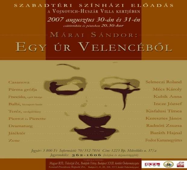 Fényképek - Márai Sándor: Egy úr Velencéből - Plakát (készítette: Kauker Szilvi)